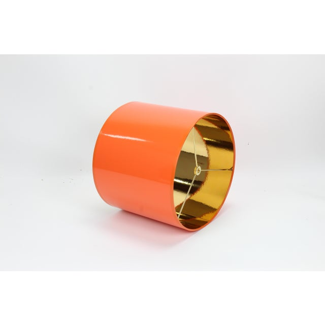 Lampshade Designs Orange High Gloss Drum Lamp Shade With Gold Lining For Sale - Image 4 of 8
