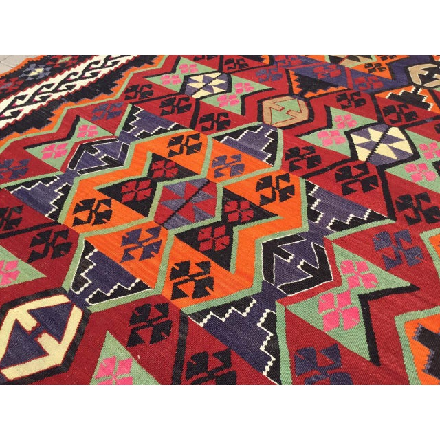 Textile Turkish Kilim Rug For Sale - Image 7 of 9