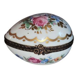 Vintage Limoges Egg Shaped Ring Box For Sale