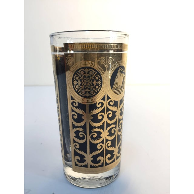Brass Vintage Eight Highball Black and Gold Glasses in a Brass Cart by Fred Press For Sale - Image 7 of 10