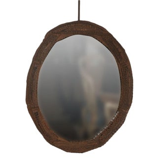 Oval Tramp Art Frame with Mirror For Sale