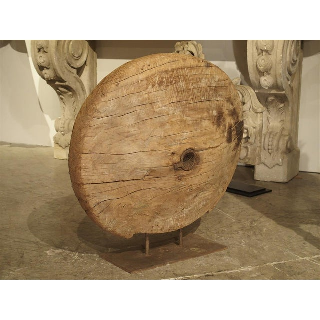 Antique Mounted Wooden Work Wheel From India For Sale - Image 9 of 10