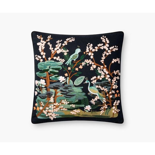 """Japanese Kenneth Ludwig Chicago Black Kyoto Garden 22"""" Pillow For Sale - Image 3 of 3"""