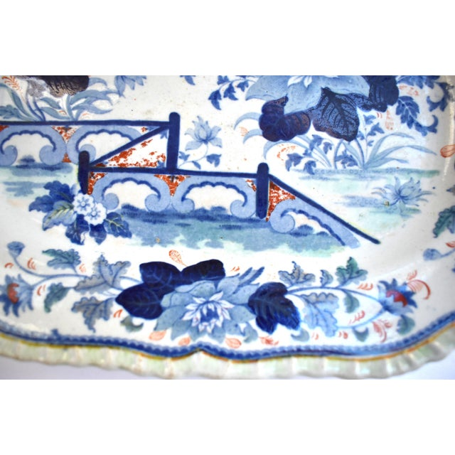 Mid Antique 19th Century Blue & White Transferware Ironstone Chinoiserie Platter For Sale In San Francisco - Image 6 of 9