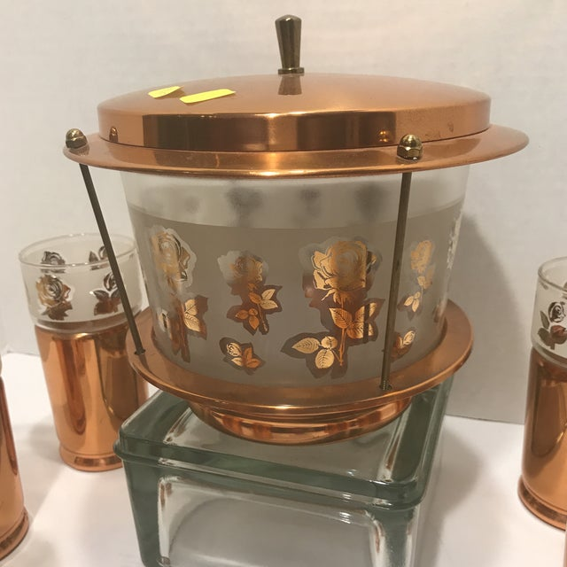 Copper 1950s Mid Century Modern Copper Detailed Ice Tea Set - 9 Pieces For Sale - Image 8 of 13