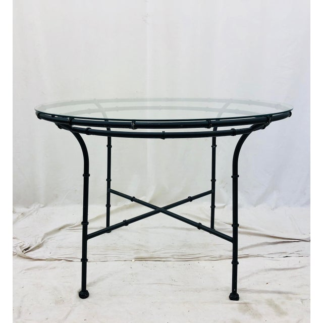 Black Vintage Faux Bamboo Style Table For Sale - Image 8 of 13