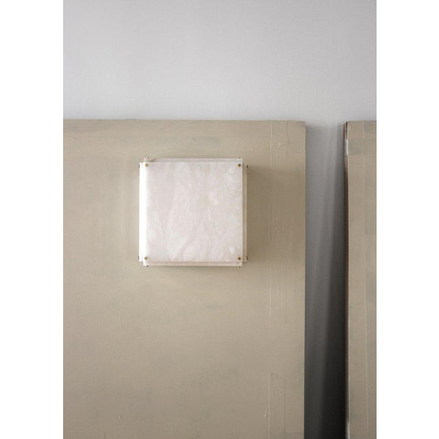 Stone Modern Contemporary 001a Flush Mount in Alabaster by Orphan Work For Sale - Image 7 of 10