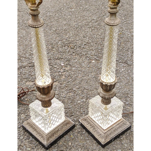 French Vintage 20th Century French Empire Style Pressed Glass & Metal Lamps - a Pair For Sale - Image 3 of 8