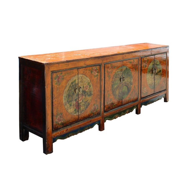 Chinese orange asian scenery long sideboard buffet cabinet for Sideboard orange