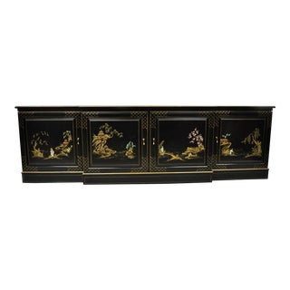 "20th Century Asian Hand Painted 90"" Long Black Lacquer Low Credenza For Sale"