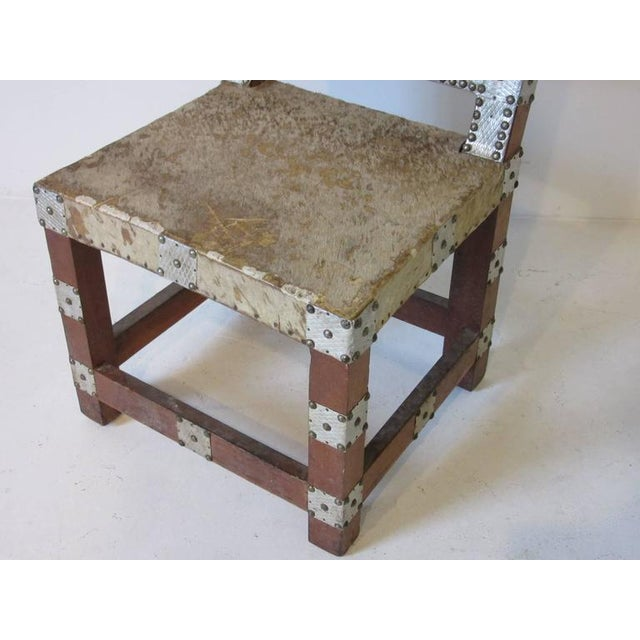 1950s Folk Art African Royal or Prince Aluminum and Metal Studded Animal Skin Chair For Sale - Image 5 of 6