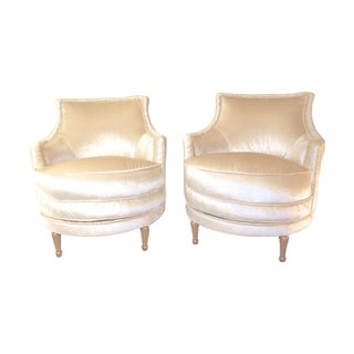 Hollywood Regency Velvet Swivel Chairs - A Pair