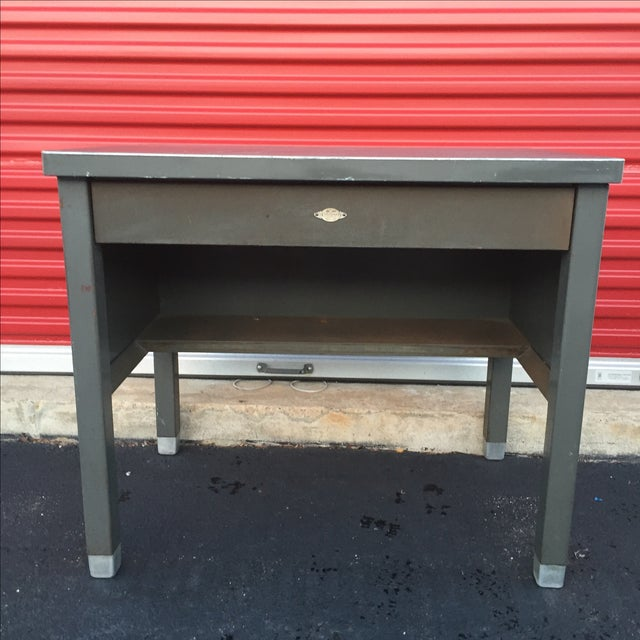 Industrial Age Desk With Drawer by Art Steel For Sale - Image 4 of 11