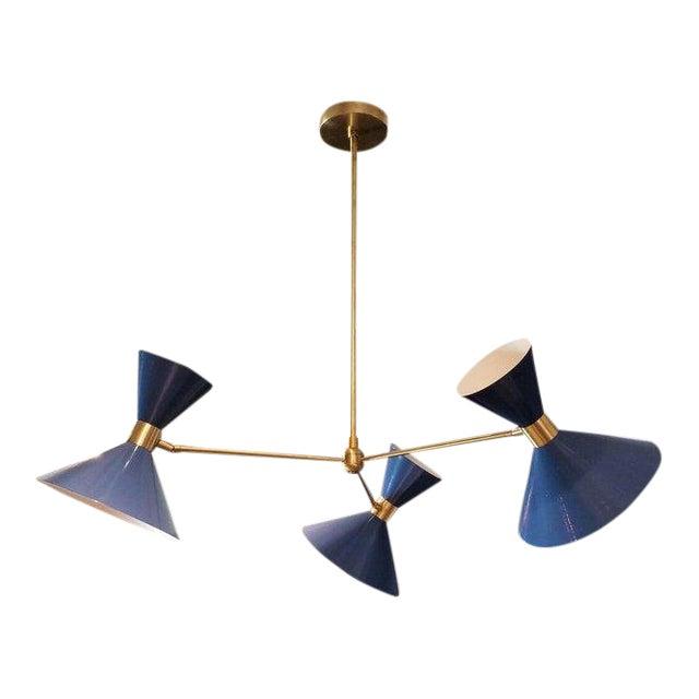 Blueprint Lighting 'Monarch' Modern Brass + Blue Enamel 3-Arm Pendant For Sale
