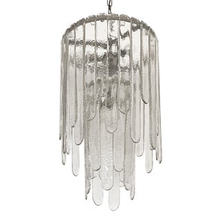 Carlo Nason Two-Tier Cascade Ice Glass Chandelier For Sale