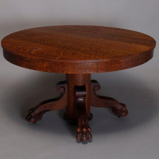 Antique Victorian r.j. Horner Carved Oak Split Pedestal Dining Table With Paw Feet Preview