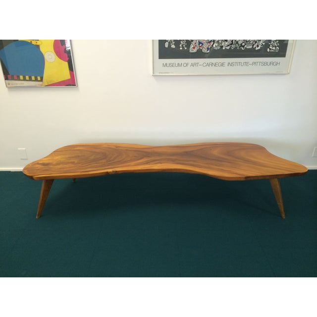 Large Vintage Monkey Pod Wood Slab Coffee Table - Image 5 of 7