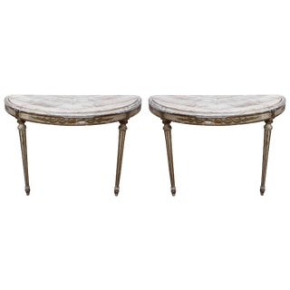 European Louis XVI Style Painted Antique Demi Lune Tables - a Pair For Sale