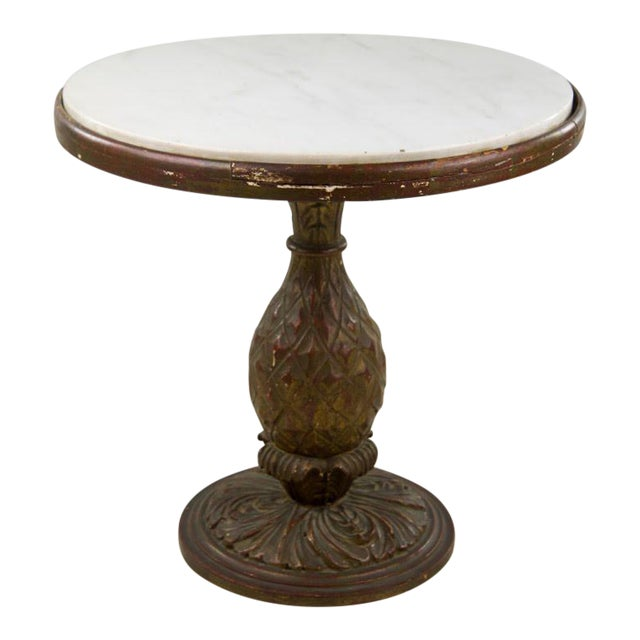 Italian 20th C. White Round Marble Top Accent Table For Sale