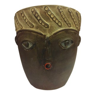 Modern Large Spanish Picassoesque Face Pot Planter For Sale