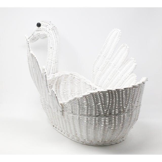 Vintage Large White Wicker Swan Basket For Sale - Image 4 of 11