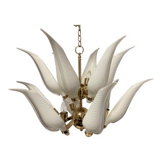 Franco Luce Italian Murano 12 Light Chandelier For Sale