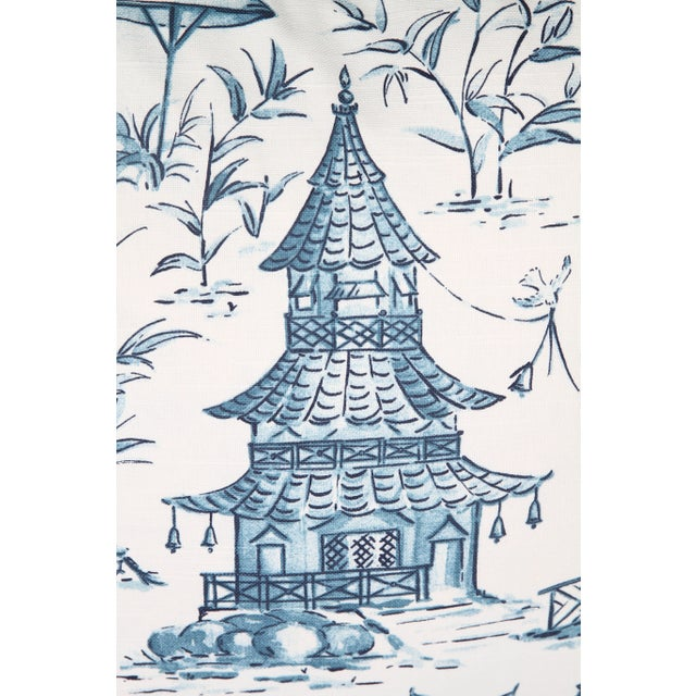 Asian Blue & White Pagoda Pillows - A Pair For Sale - Image 3 of 3