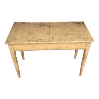 Yellow Painted Primitive Antique School Desk For Sale