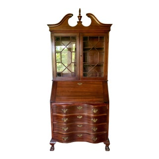 Antique Chippendale Mahogany Secretary Desk Bookcase For Sale