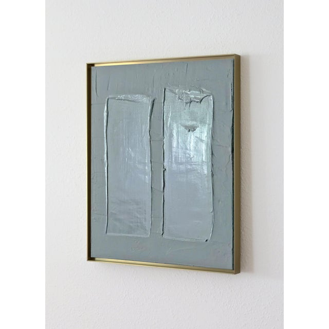 Contemporary Abstract Minimalist Framed Blue Painting For Sale - Image 3 of 3