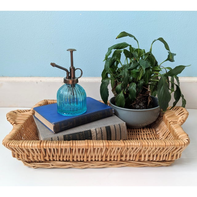 Lovely wicker tray basket with beautiful handles. Perfect for display or stylish storage. Would also make a great gift!