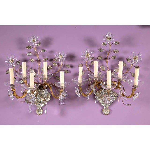 1930s French Crystal Flower Gilt Sconces - a Pair For Sale - Image 10 of 10