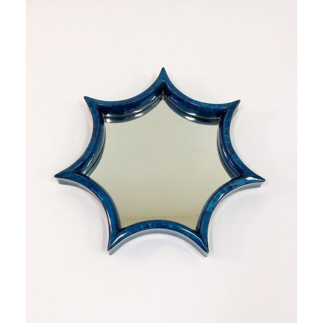 Dark Blue Goatskin Wall Mirror For Sale - Image 4 of 8