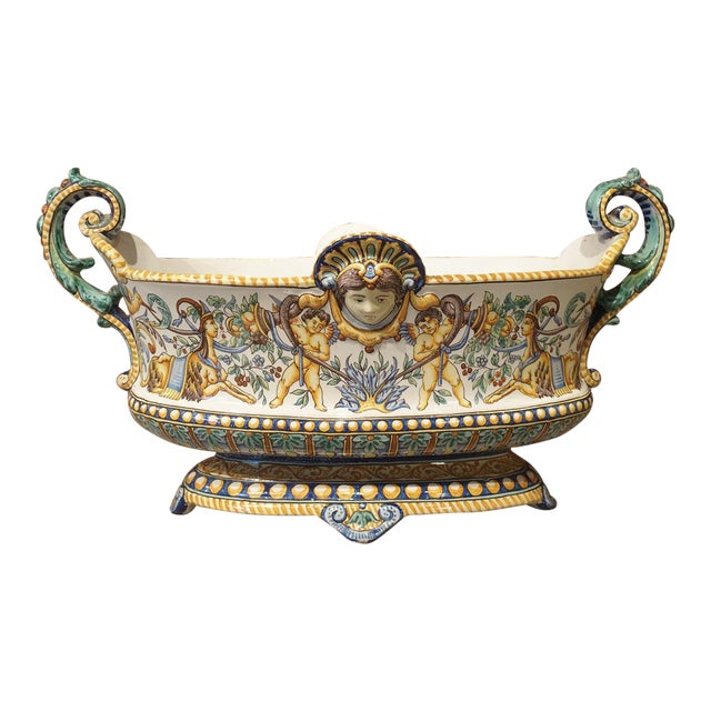 19th Century French Faience Jardiniere, Antoine Montagnon, Nevers For Sale