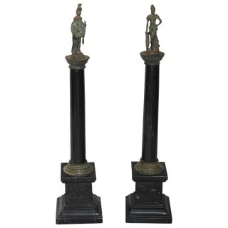 Pair of Bronze and Marble Grand Tour Souvenirs For Sale