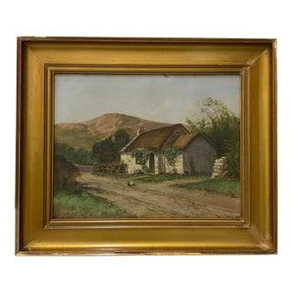 Thomas Campbell (1865 - 1943) Thatched Cottage on a Country Road C.1900 For Sale