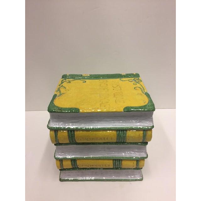 Ceramic Tromp l'Oeil Stack of Books Glazed Terracotta Italian Side Table Garden Seat For Sale - Image 7 of 10