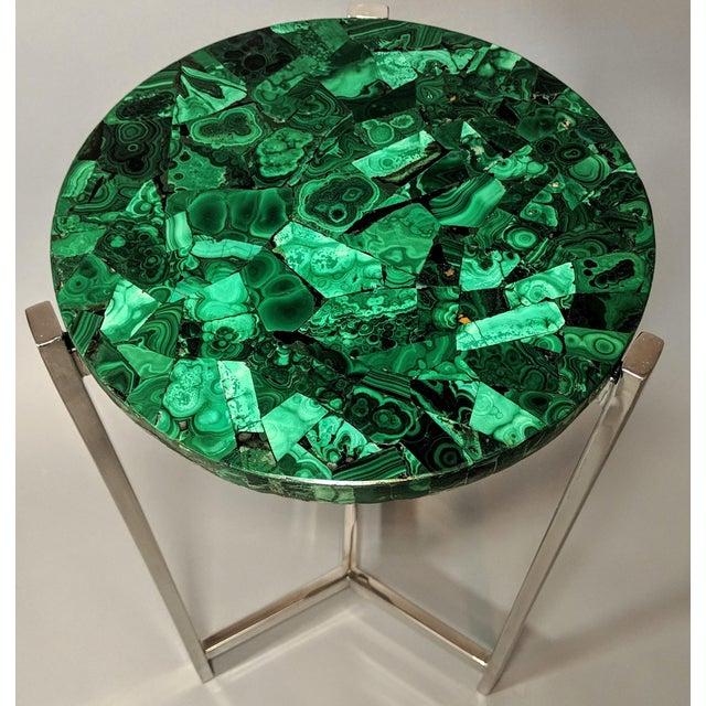 Jonathan Adler Art Deco Malachite & Chrome Side Table For Sale - Image 4 of 13