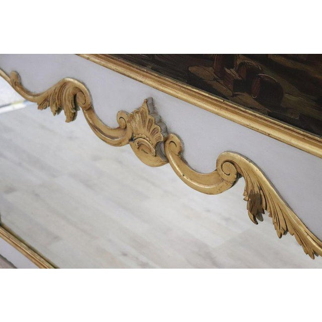 20th Century, Italian Louis XVI Style Wood Lacquered and Gilded Fireplace Mirror For Sale - Image 11 of 13
