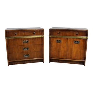 Hickory Manufacturing Co. Campaign Style Chests a Vintage Pair For Sale
