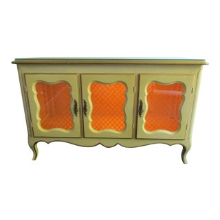 20th Century French Country Yellow Curio For Sale