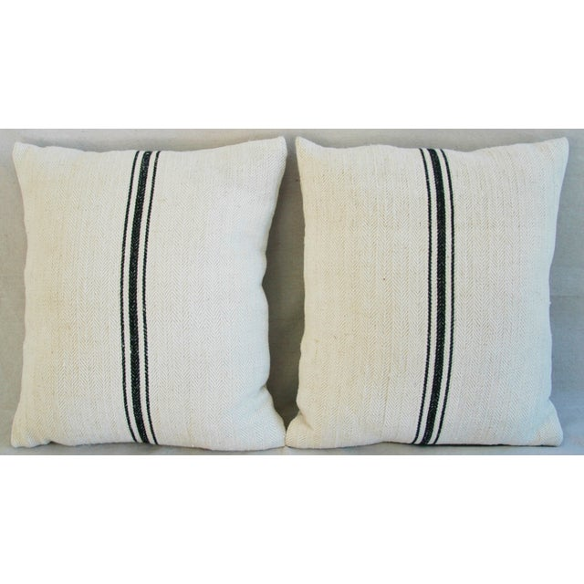 French Grain Sack Down & Feather Pillows - A Pair - Image 3 of 10