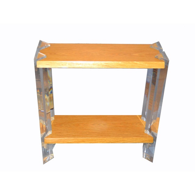 Italian Mid-Century Modern Oak and Acrylic Two Tier Console Table or Bookshelf. It was made in Italy circa 1960-70. This...