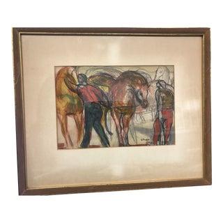 1970s Vintage Mixed Media Watercolor and Pencil Figural Scene For Sale