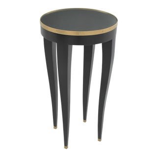 1940s Tall French Art Deco Ebonized Pedestal Table For Sale
