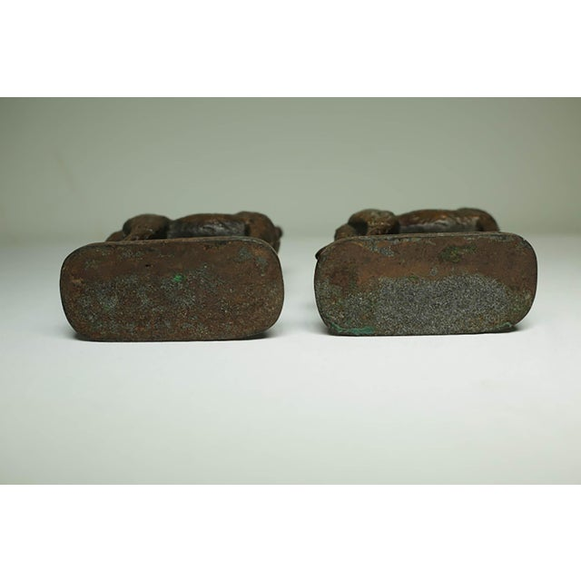 "Solid Bronze German Shepard Bookends Stamped ""1929 Gift House Inc. Nyc"" For Sale - Image 4 of 6"