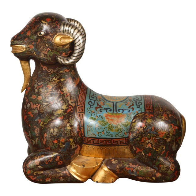 Asian Wood Hand-Painted Figure of a Recumbent Ram For Sale