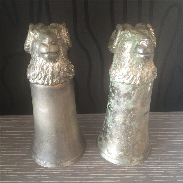 Silver Plated Pewter Ram Stirrup Cups - A Pair - Image 5 of 9