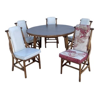 1960s Mid-Century Bamboo Dining Table & 6 Chairs For Sale