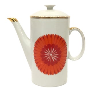 Vintage Polish Red and Orange Retro Glam Pattern Coffee Pot For Sale